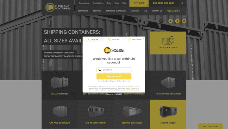 Screenshot of website Cleveland Containers