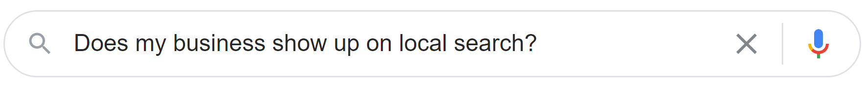 Google business location-related query to test where your business is ranked organically.
