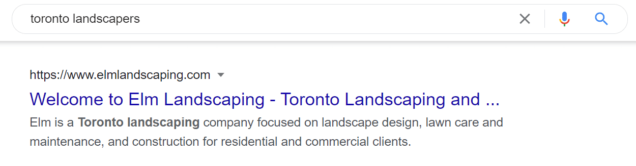 This is an example of a meta description for a Toronto landscaping company.